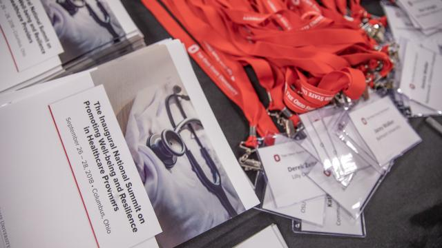 Image of promotional materials from the inaugural clinician well being summit